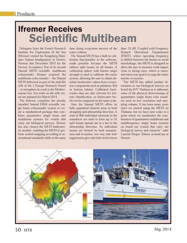 Marine Technology Magazine, page 50,  May 2014 Laurent Berger
