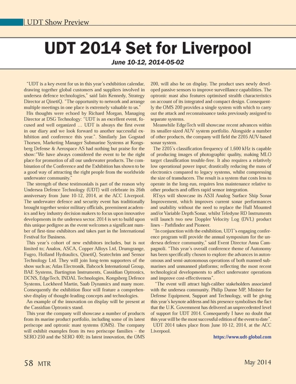 Marine Technology Magazine, page 58,  May 2014 Richard Morgan