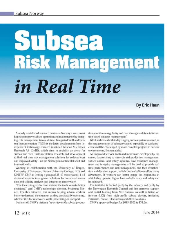 Marine Technology Magazine, page 12,  Jun 2014