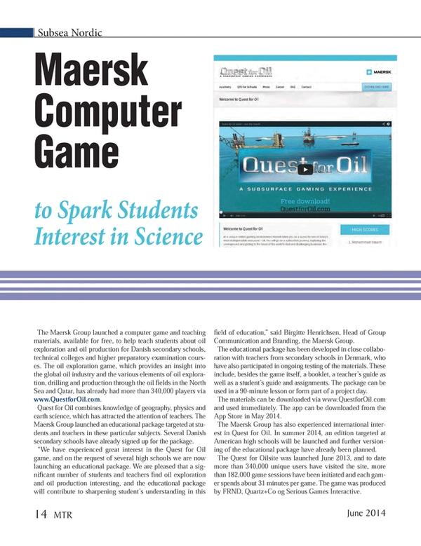 Marine Technology Magazine, page 14,  Jun 2014