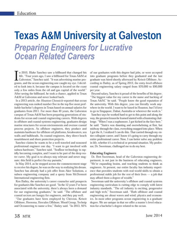 Marine Technology Magazine, page 38,  Jun 2014