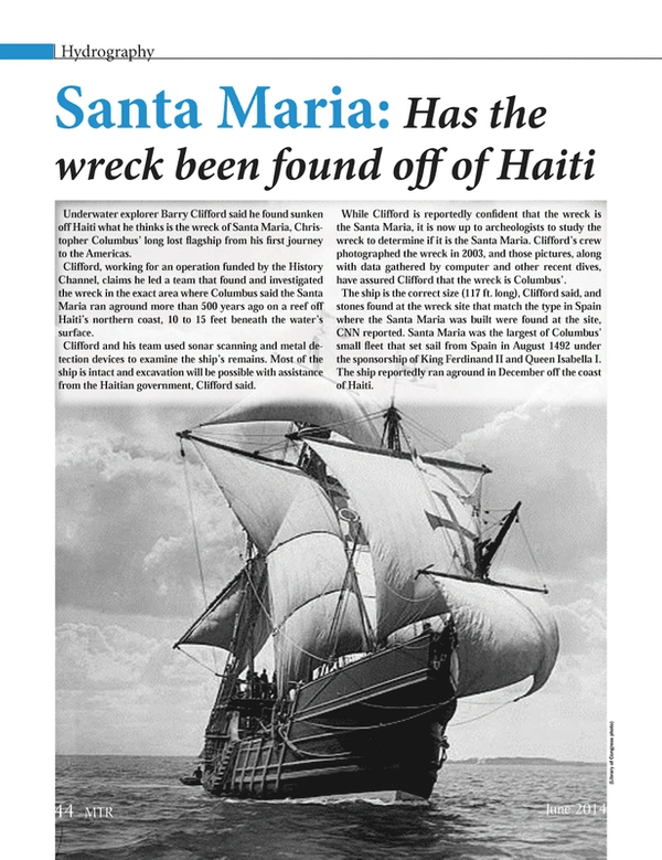 Marine Technology Magazine, page 44,  Jun 2014 Haitian government