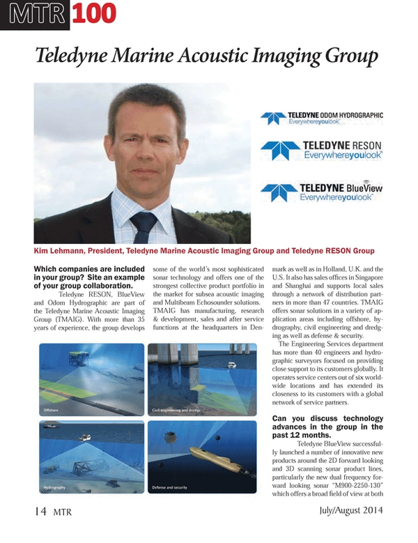 Marine Technology Magazine, page 14,  Jul 2014