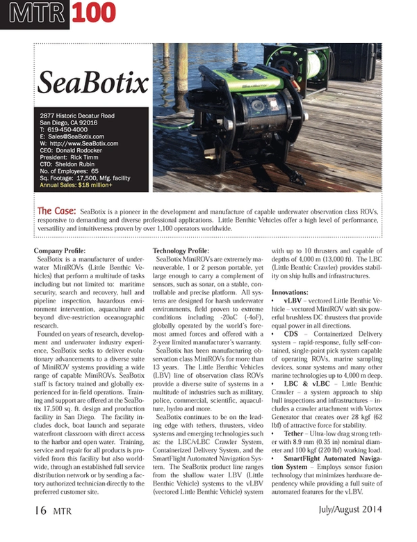 Marine Technology Magazine, page 16,  Jul 2014