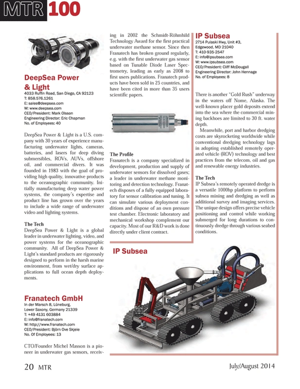 Marine Technology Magazine, page 20,  Jul 2014