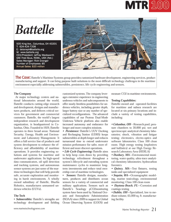Marine Technology Magazine, page 21,  Jul 2014