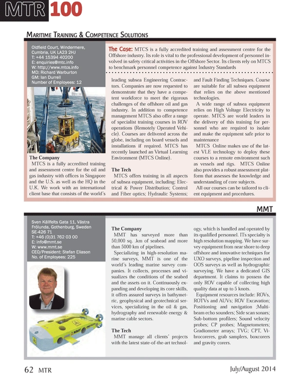 Marine Technology Magazine, page 62,  Jul 2014