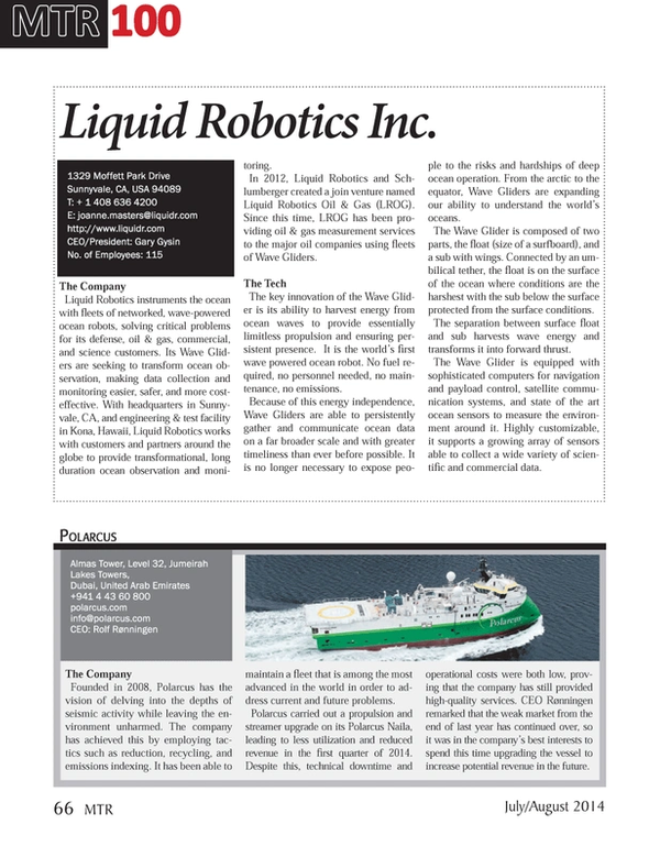 Marine Technology Magazine, page 66,  Jul 2014