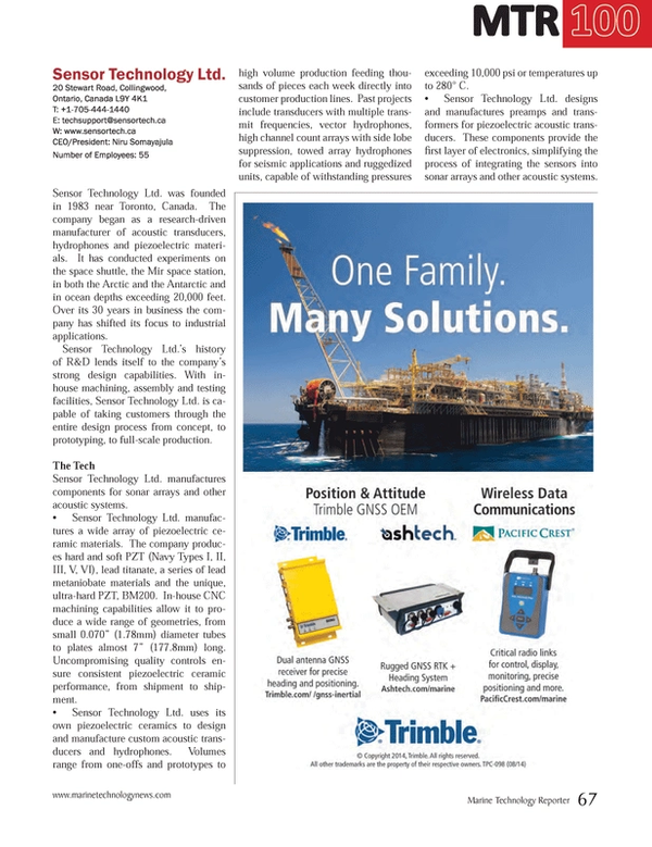 Marine Technology Magazine, page 67,  Jul 2014