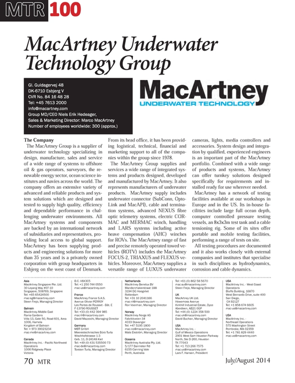 Marine Technology Magazine, page 70,  Jul 2014