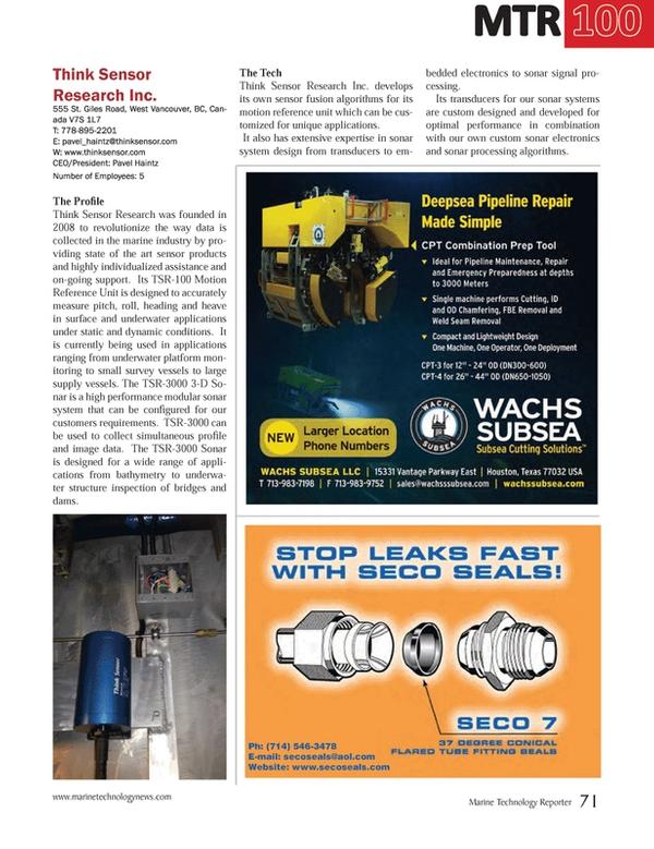 Marine Technology Magazine, page 71,  Jul 2014