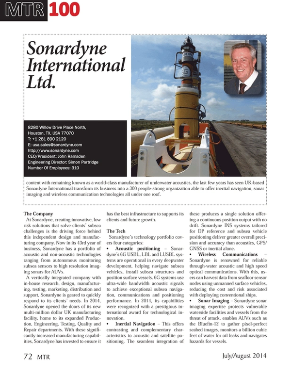 Marine Technology Magazine, page 72,  Jul 2014