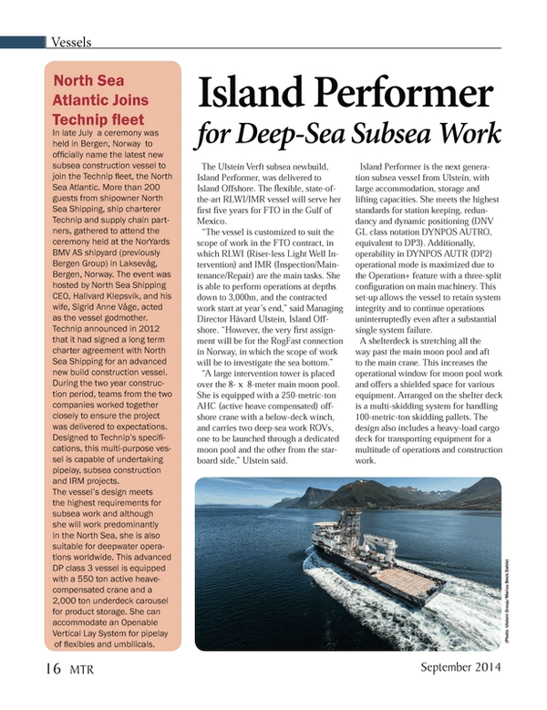 Marine Technology Magazine, page 16,  Sep 2014
