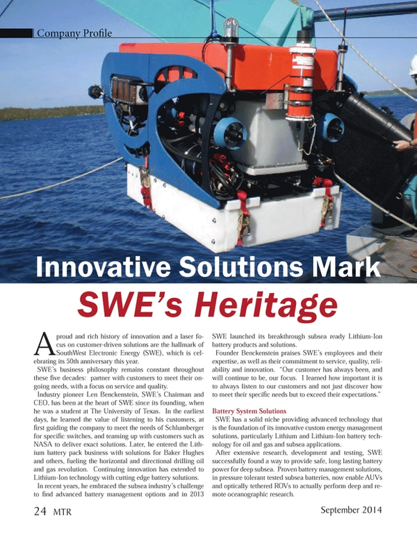Marine Technology Magazine, page 24,  Sep 2014
