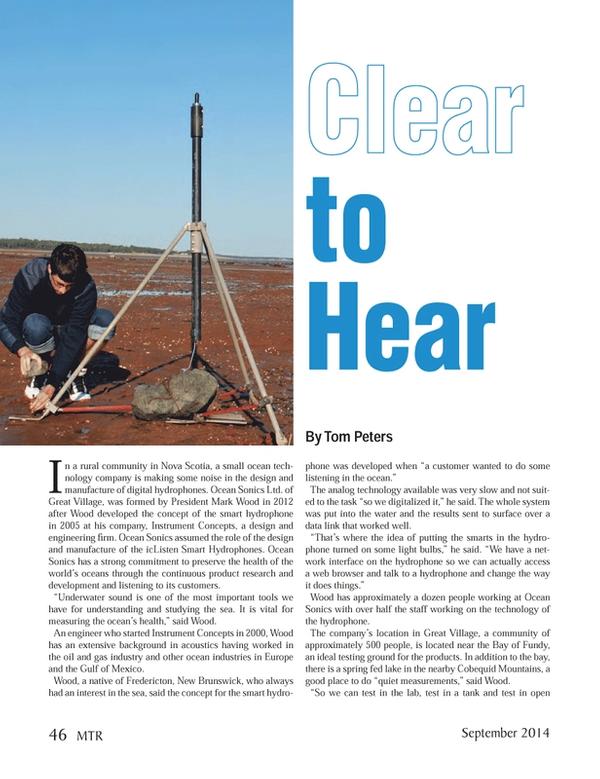 Marine Technology Magazine, page 46,  Sep 2014