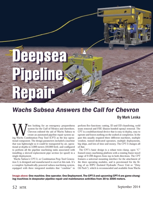 Marine Technology Magazine, page 52,  Sep 2014