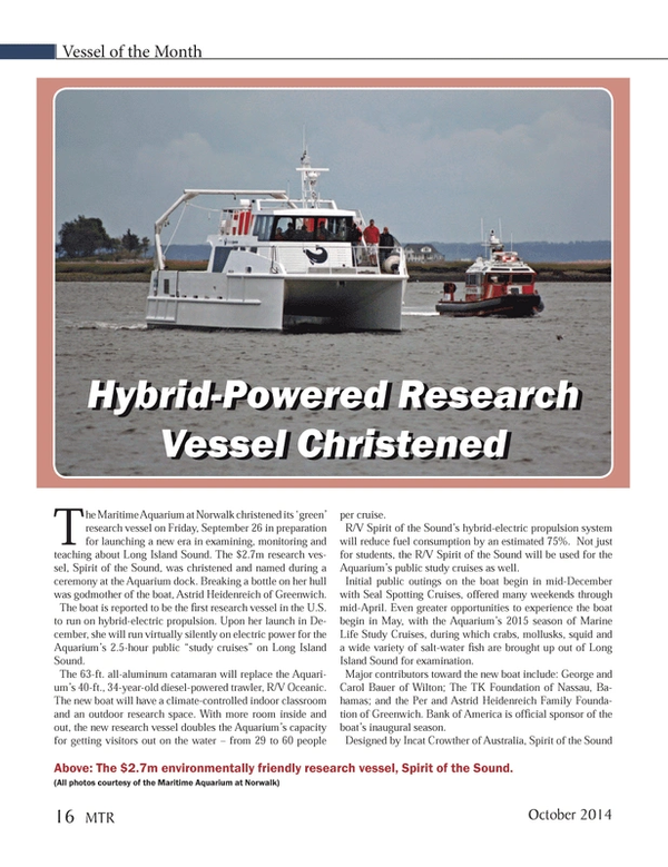 Marine Technology Magazine, page 16,  Oct 2014