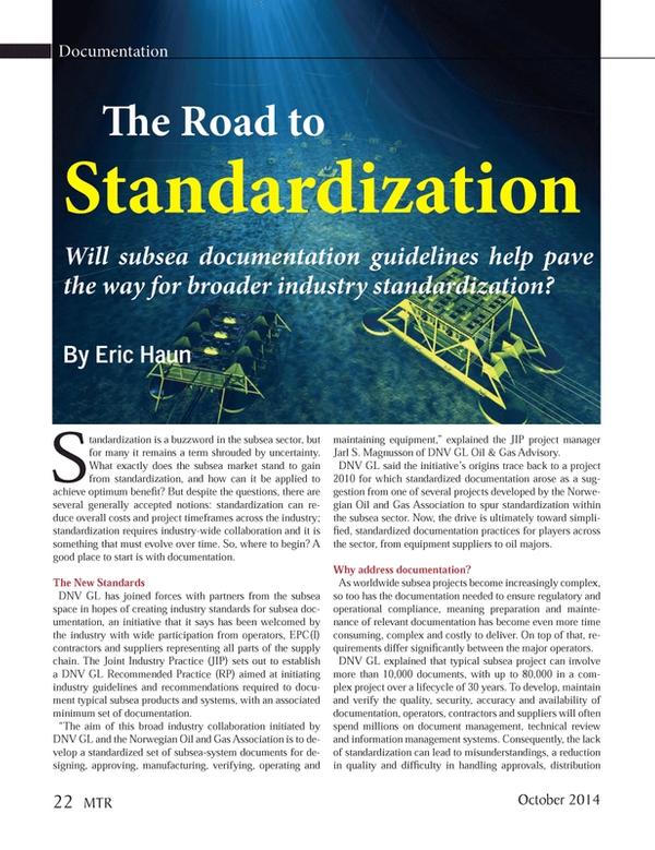 Marine Technology Magazine, page 22,  Oct 2014