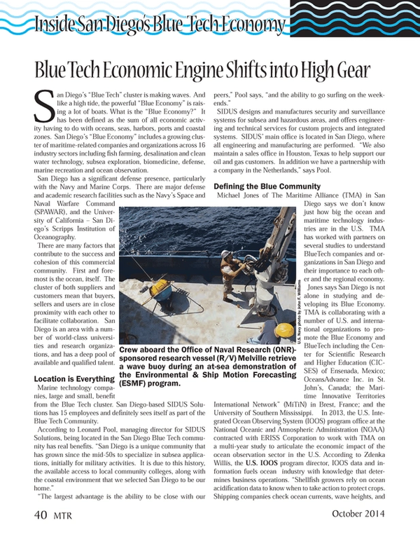 Marine Technology Magazine, page 40,  Oct 2014