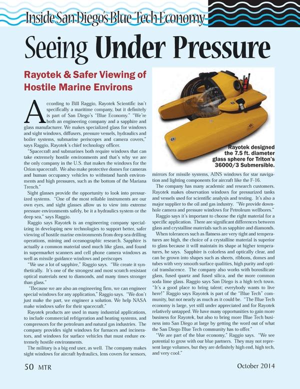 Marine Technology Magazine, page 50,  Oct 2014