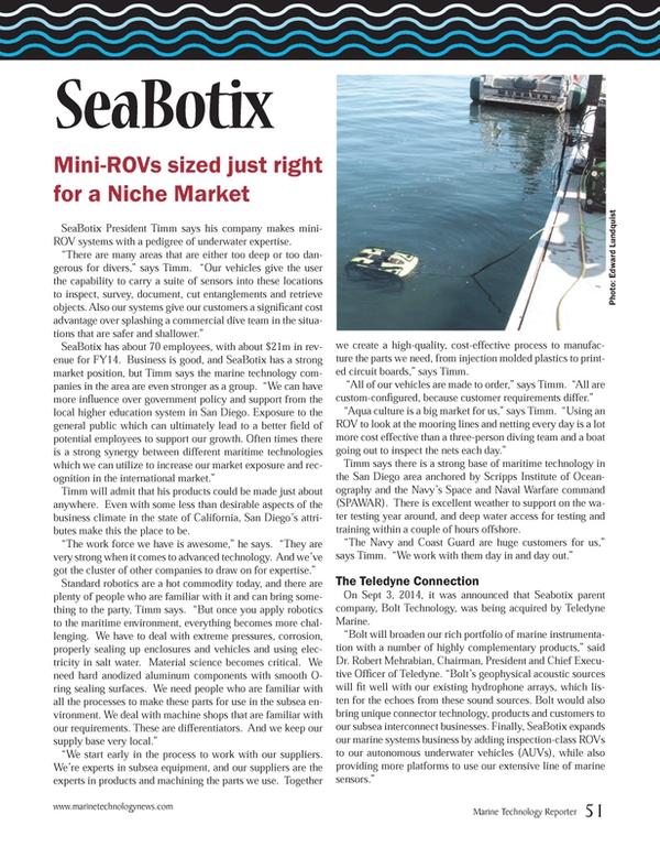 Marine Technology Magazine, page 51,  Oct 2014
