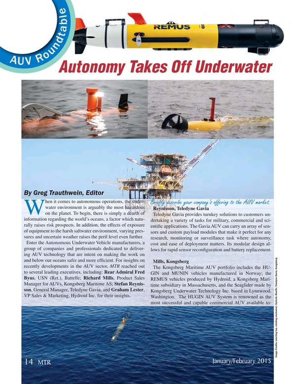Marine Technology Magazine, page 14,  Jan 2015