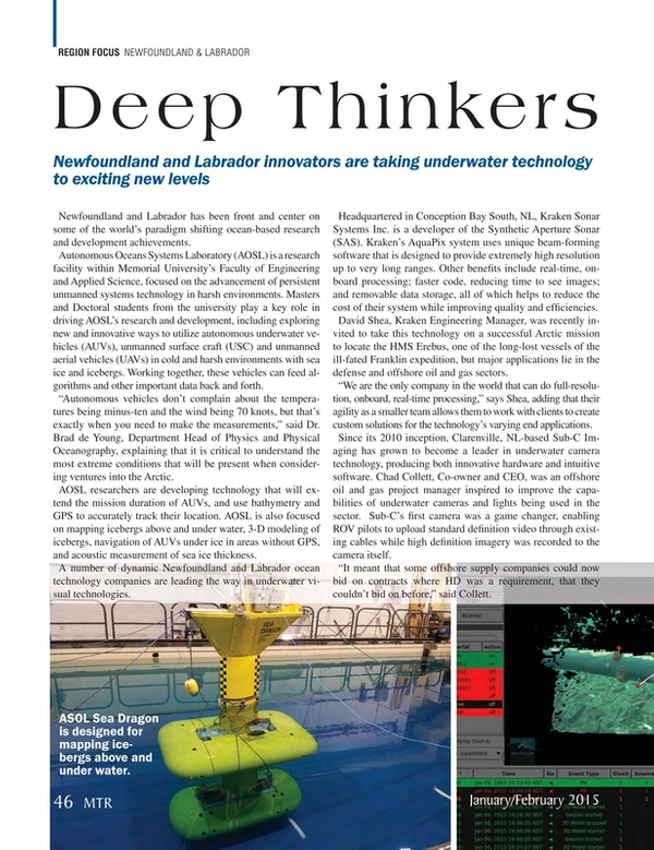 Marine Technology Magazine, page 46,  Jan 2015