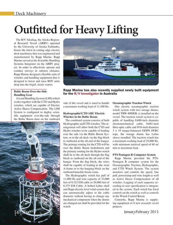 Marine Technology Magazine, page 56,  Jan 2015
