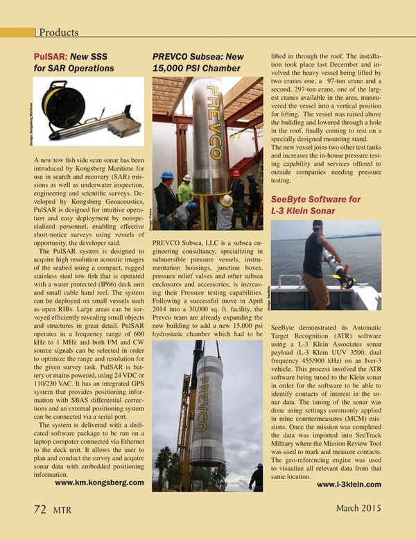 Marine Technology Magazine, page 72,  Mar 2015