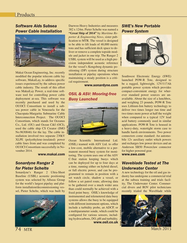 Marine Technology Magazine, page 74,  Mar 2015