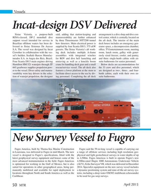 Marine Technology Magazine, page 50,  Apr 2015