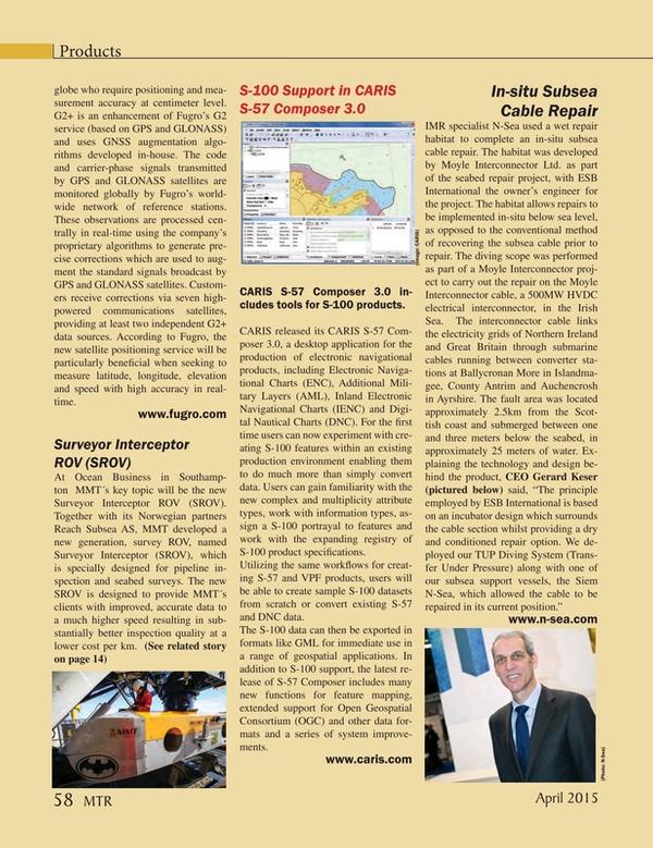 Marine Technology Magazine, page 58,  Apr 2015