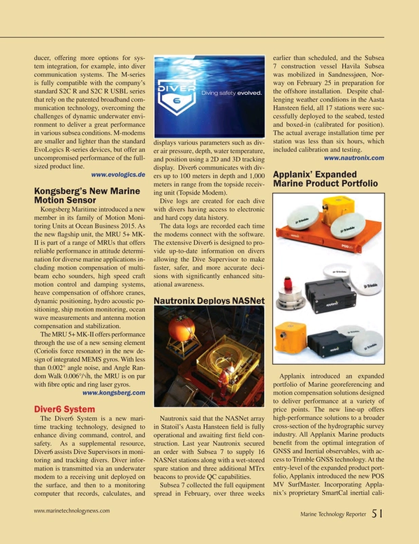 Marine Technology Magazine, page 51,  May 2015