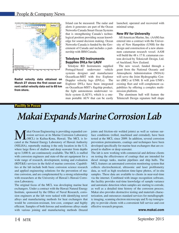 Marine Technology Magazine, page 14,  Sep 2015