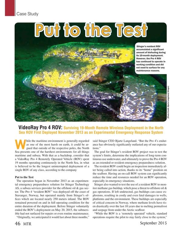 Marine Technology Magazine, page 46,  Sep 2015