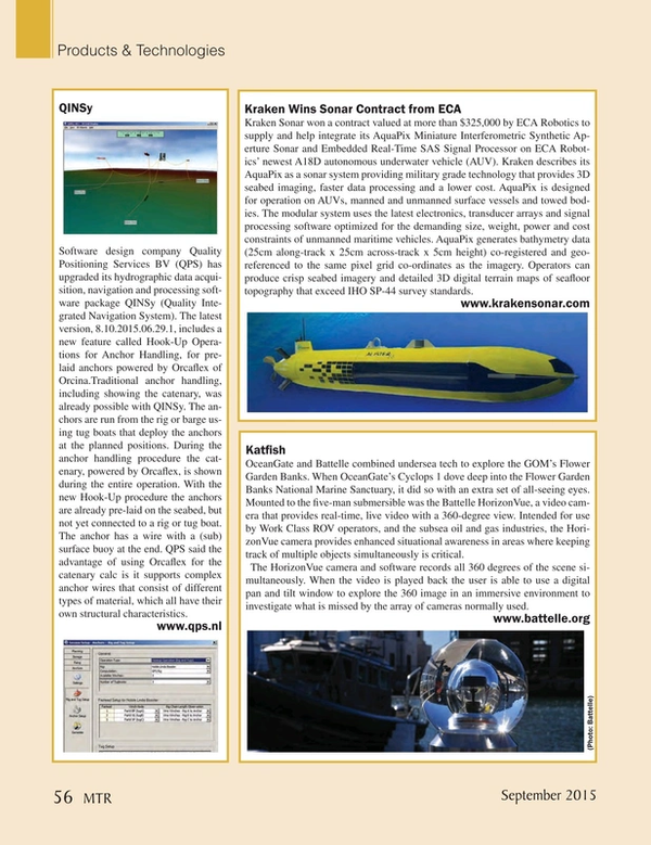 Marine Technology Magazine, page 56,  Sep 2015