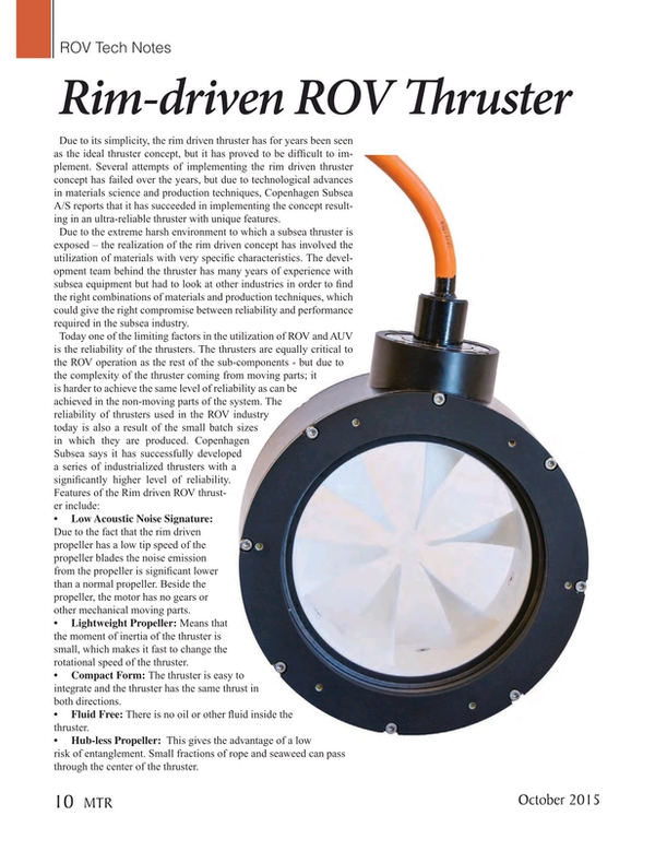 Marine Technology Magazine, page 10,  Oct 2015