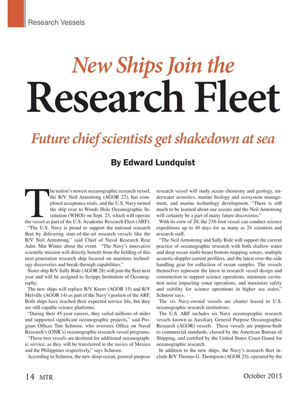 Marine Technology Magazine, page 14,  Oct 2015