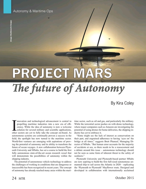 Marine Technology Magazine, page 24,  Oct 2015