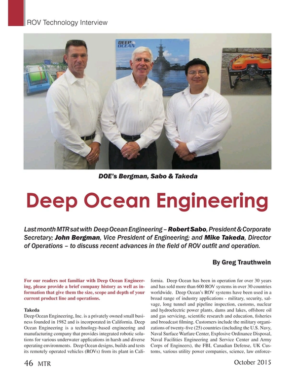 Marine Technology Magazine, page 46,  Oct 2015