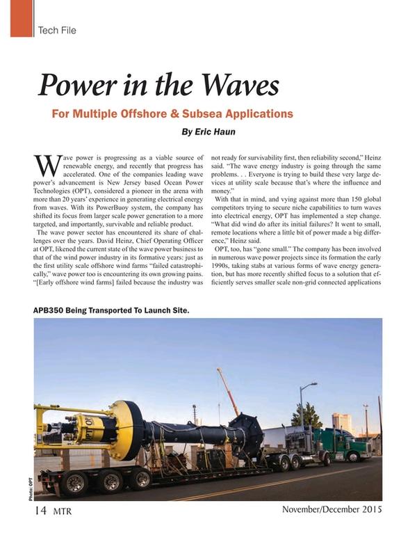 Marine Technology Magazine, page 14,  Nov 2015