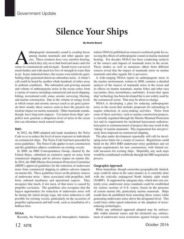 Marine Technology Magazine, page 12,  Oct 2016