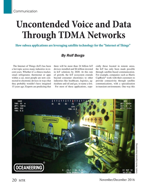 Marine Technology Magazine, page 20,  Nov 2016