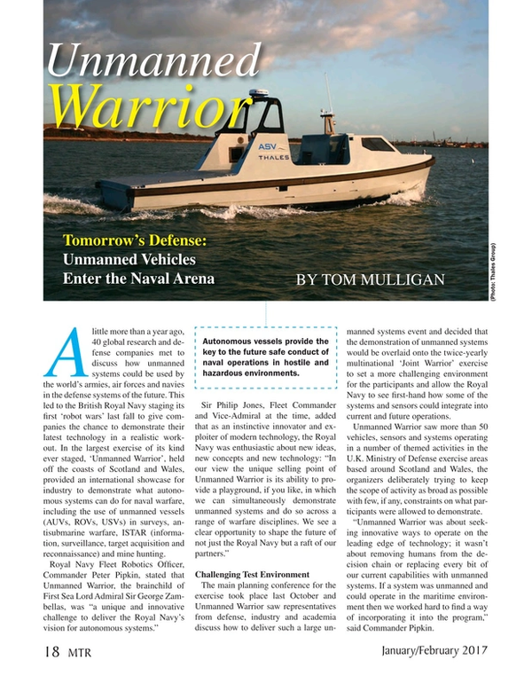 Marine Technology Magazine, page 18,  Jan 2017