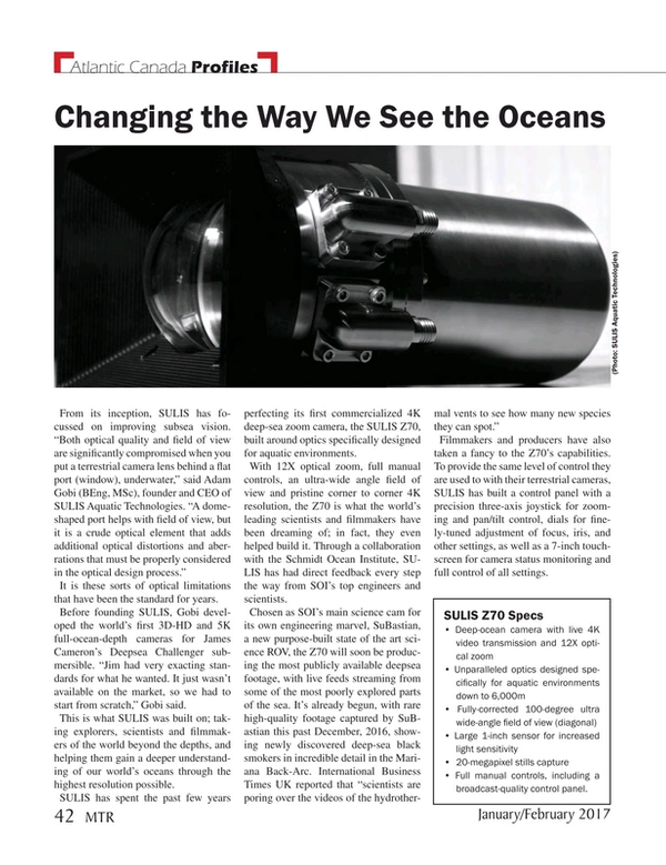 Marine Technology Magazine, page 42,  Jan 2017