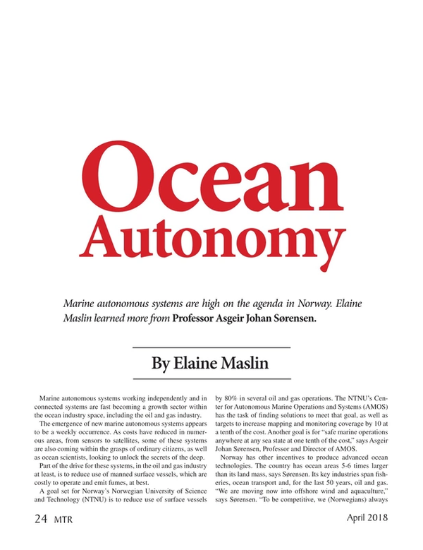Marine Technology Magazine, page 24,  Apr 2018