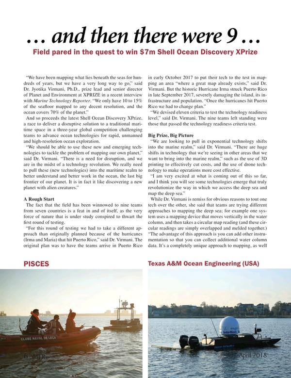 Marine Technology Magazine, page 6,  Apr 2018