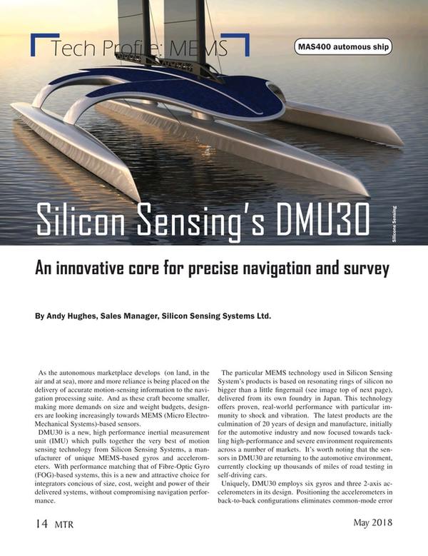 Marine Technology Magazine, page 14,  May 2018