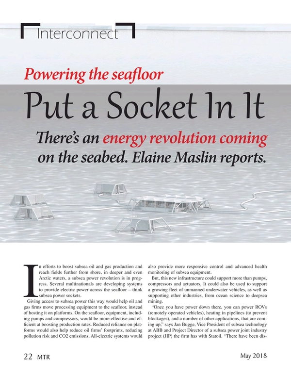 Marine Technology Magazine, page 22,  May 2018