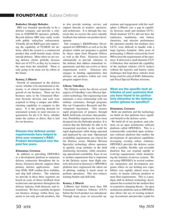 Marine Technology Magazine, page 50,  May 2020